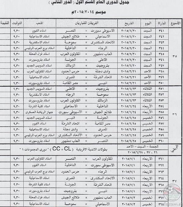 بالصور جدول مباريات الدورى المصرى و موعد مباراة القمة
